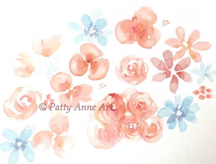 soft floral watercolor under painting