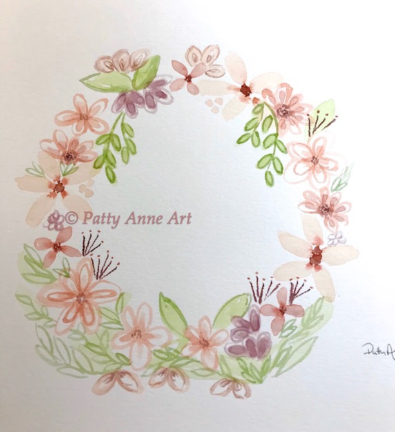 watercolor underpainting wreath
