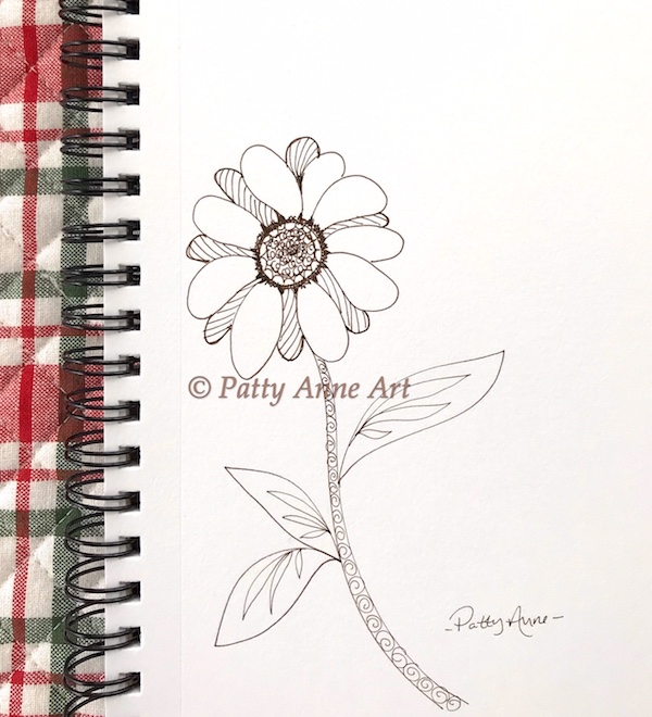 daisy ink doodle