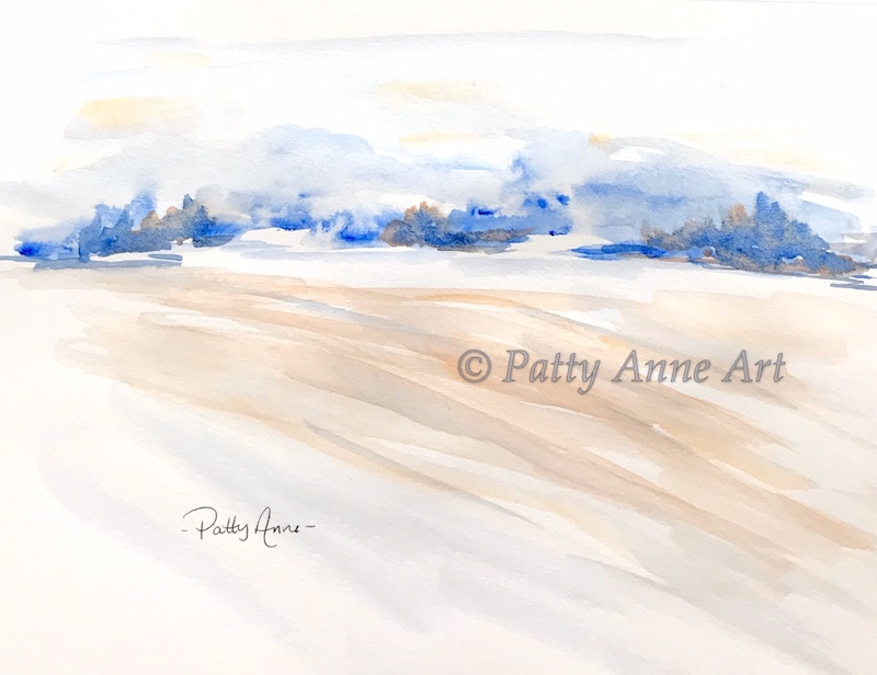 simple abstract watercolor landscape