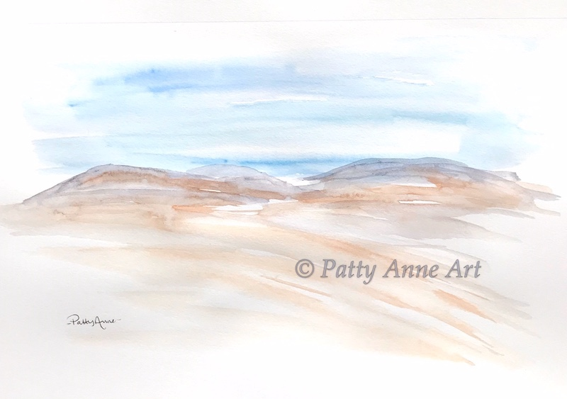 distant hills watercolor