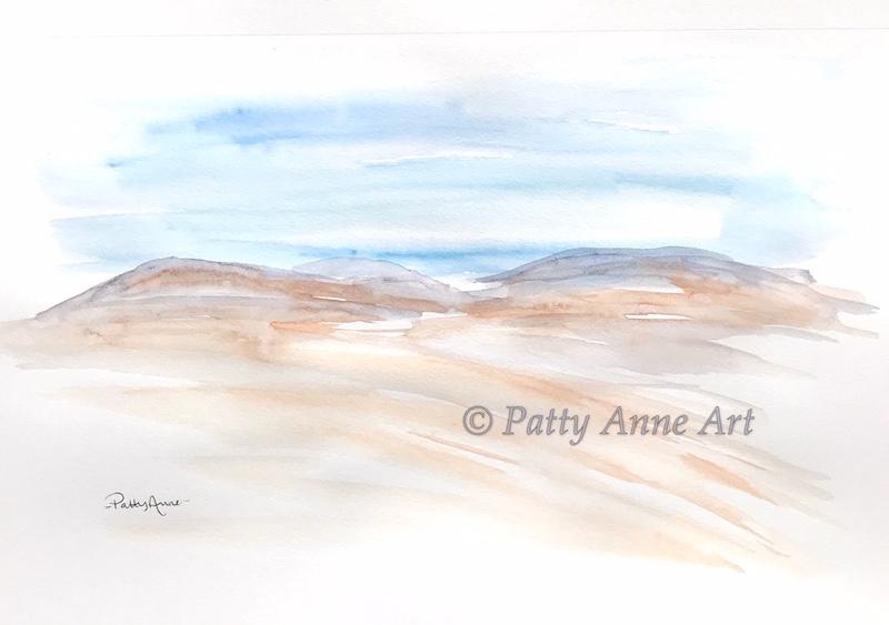 distant hills watercolor