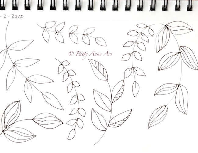 leaves and patterns ink sketchj