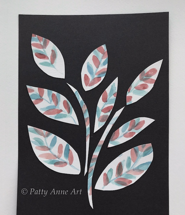 Collage Watercolor painting of Leaves