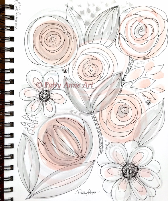 Pink and Gray floral doodles