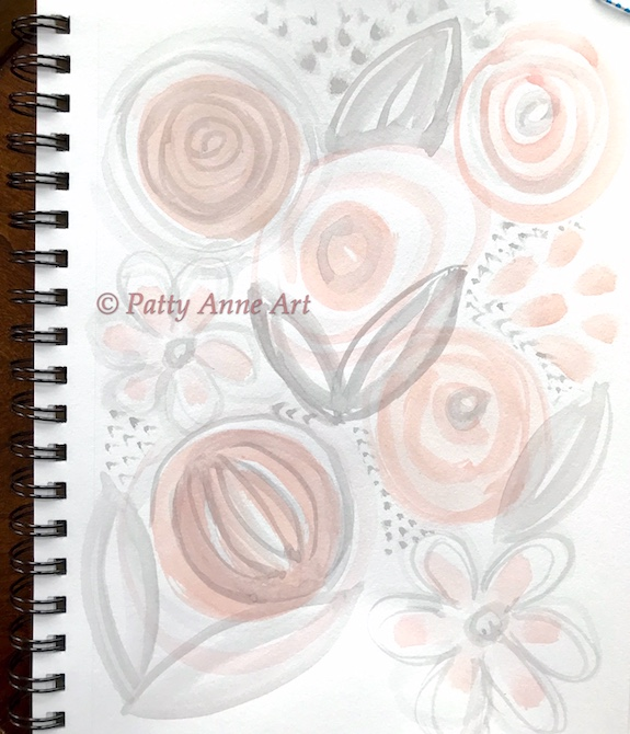 Pink and Gray watercolor under painting