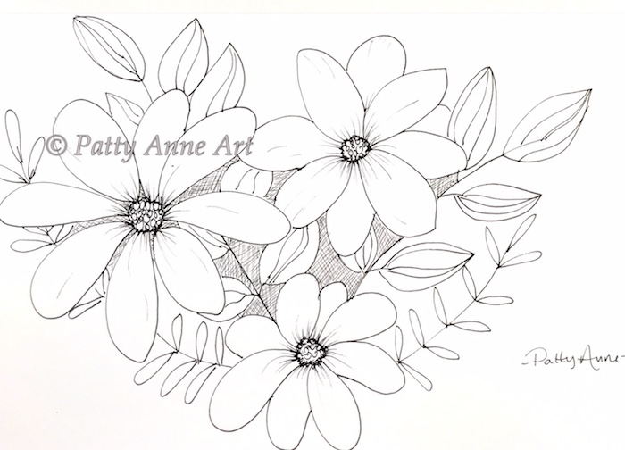 pretty floral with cross hatching