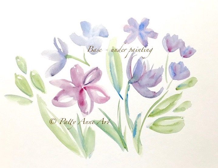 watercolor floral under painting