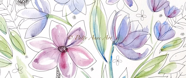 Purple Posies – Watercolor Floral Sketch
