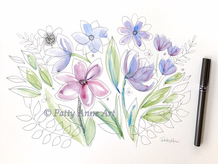watercolor and ink floral sketch