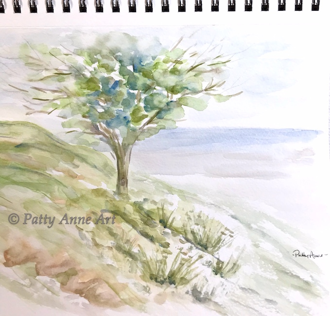 Tree by the sea watercolor painting