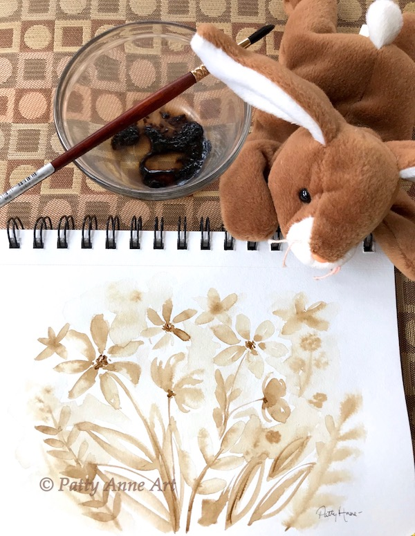 coffee floral painting