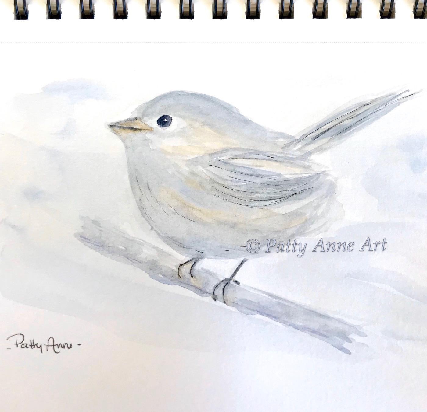 birdie watercolor