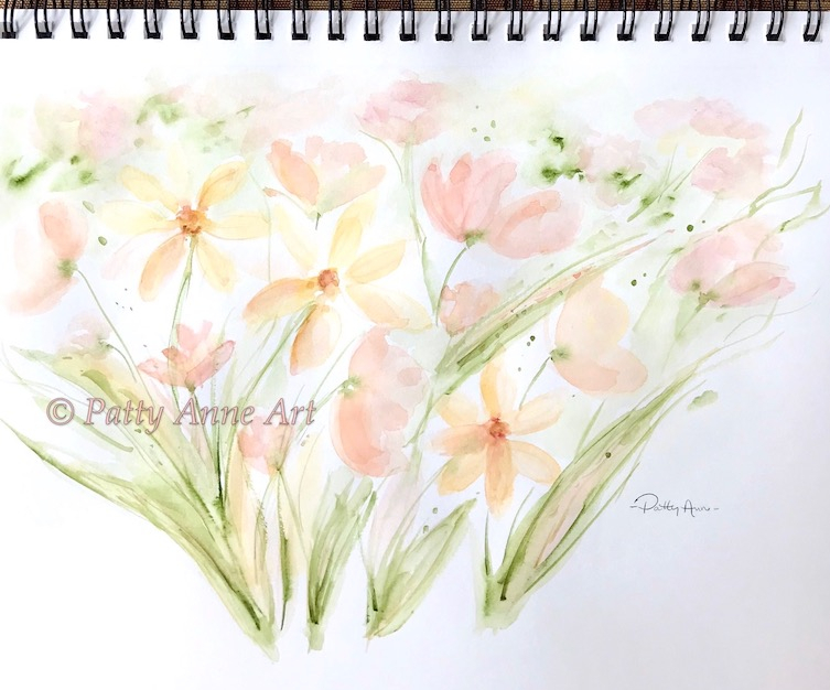 garden blooms watercolor