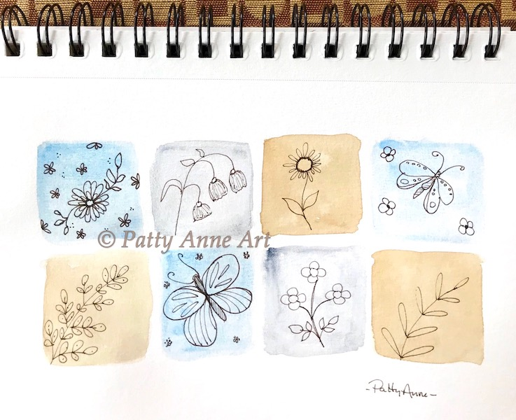 watercolor and ink tiny squares