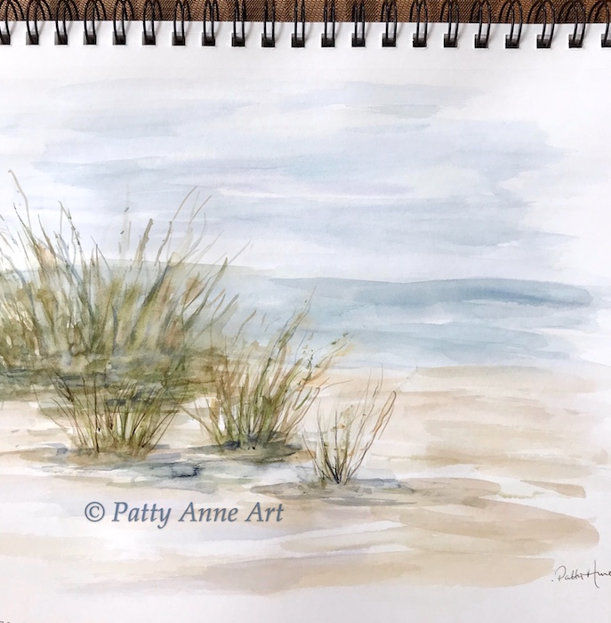 watercolor beach landscape