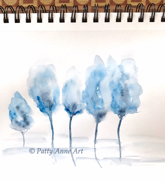 watercolor experiments - blue trees