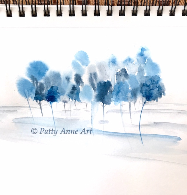 blue watercolor trees