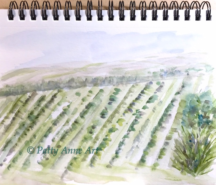 countryside watercolor painting