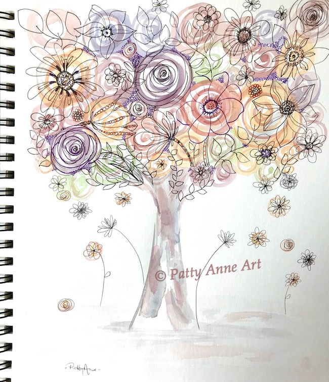 flowering tree watercolor and ink doodles