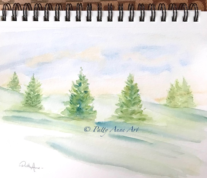 Pines landscape painting
