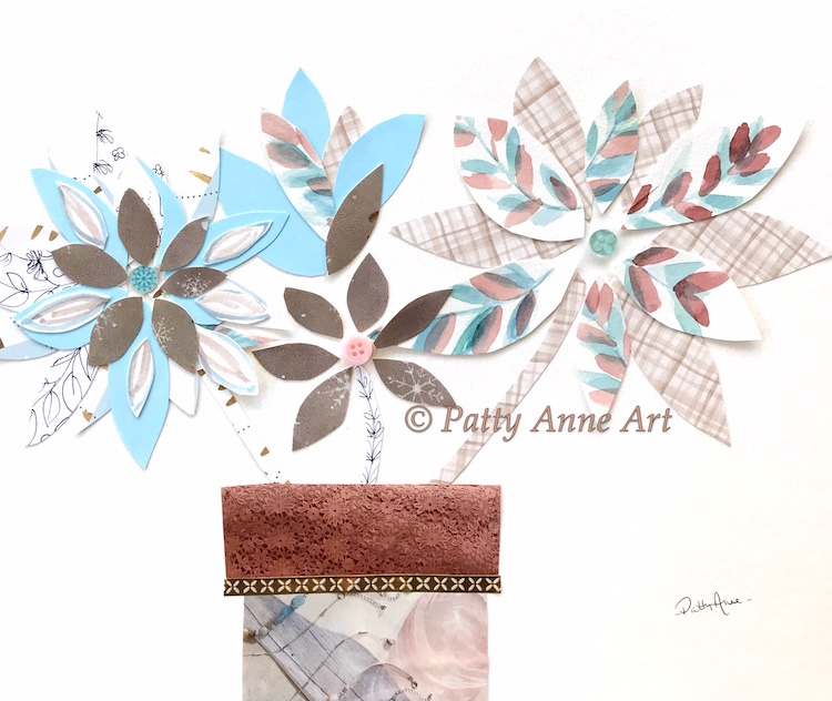 potted flowers collage art