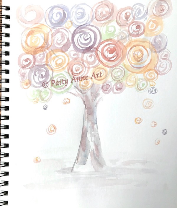watercolor tree under painting