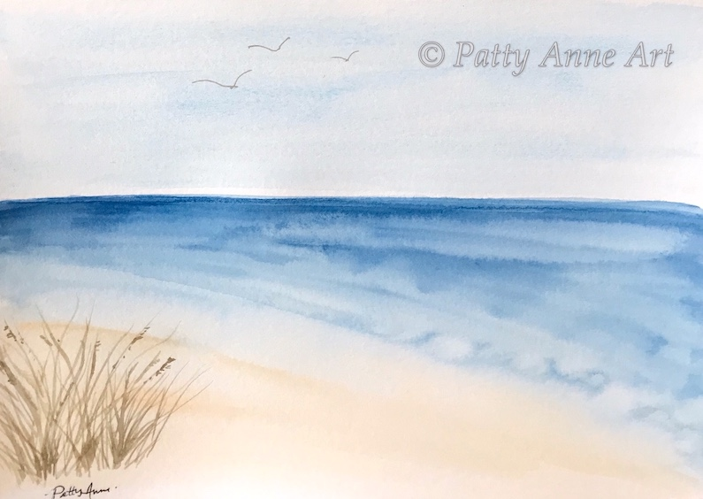 at the beach watercolor painting