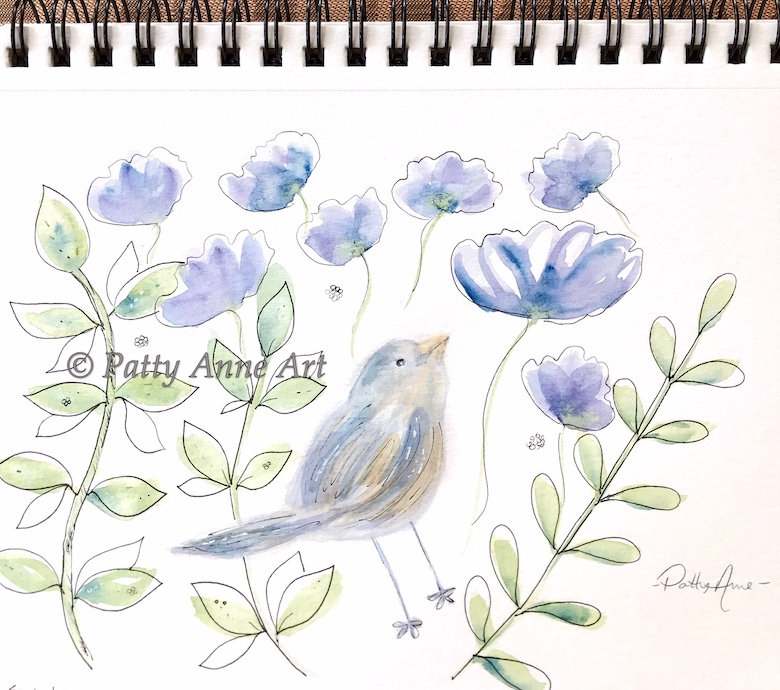 bird and flowers watercolor and ink painting
