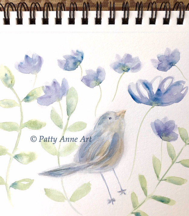 bird and flowers watercolor under painting