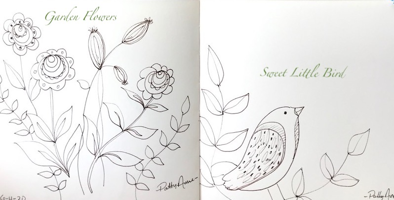 a few ink sketches of flowers and birds