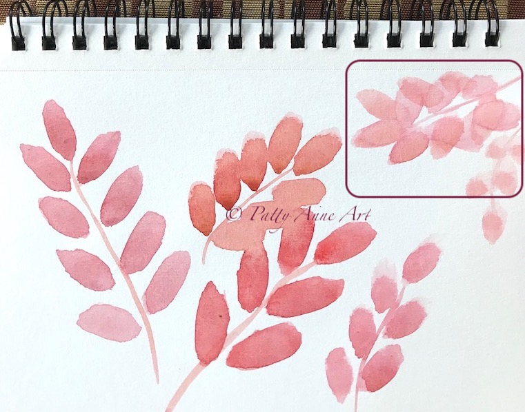 watercolor leaves - showing an issue