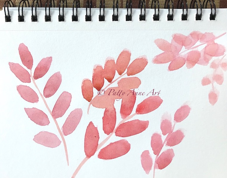 watercolor leaves - base painting