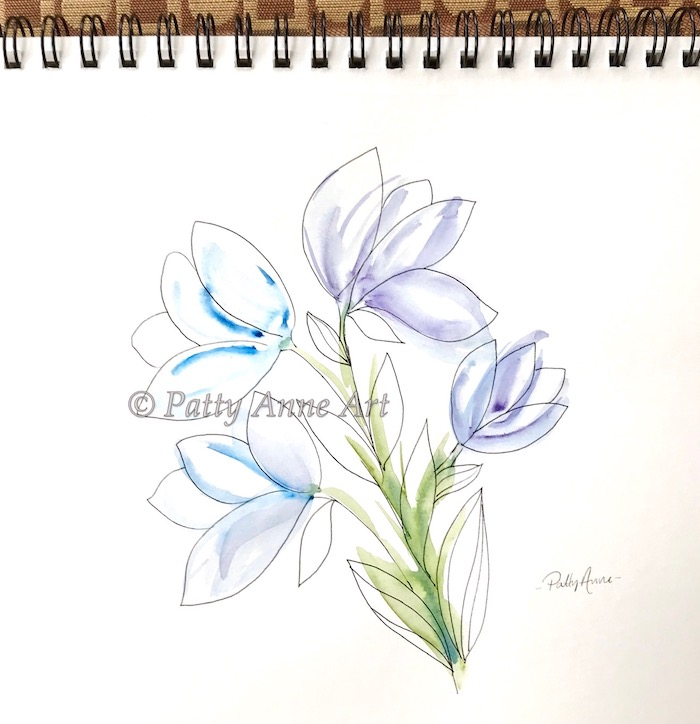 Simple Floral watercolor and ink