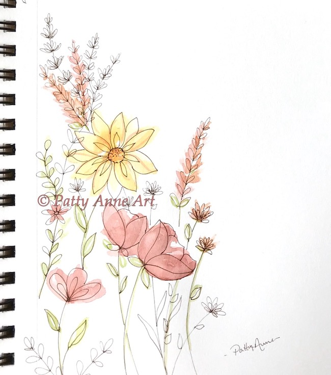 Little fall floral watercolor and ink