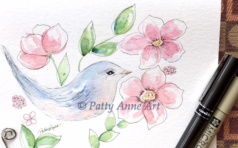 bird and flowers watercolor and ink sketch