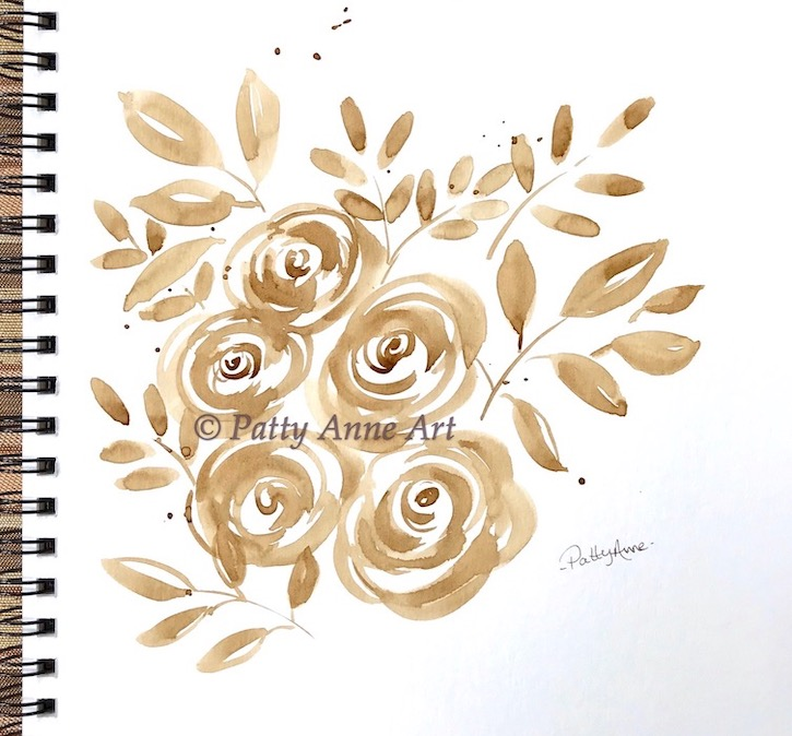 Coffee painting - Roses