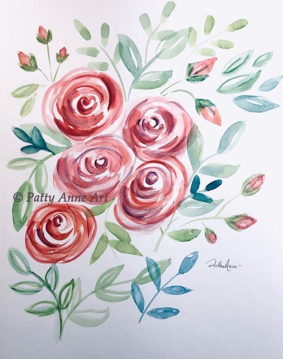 Colorful watercolor roses