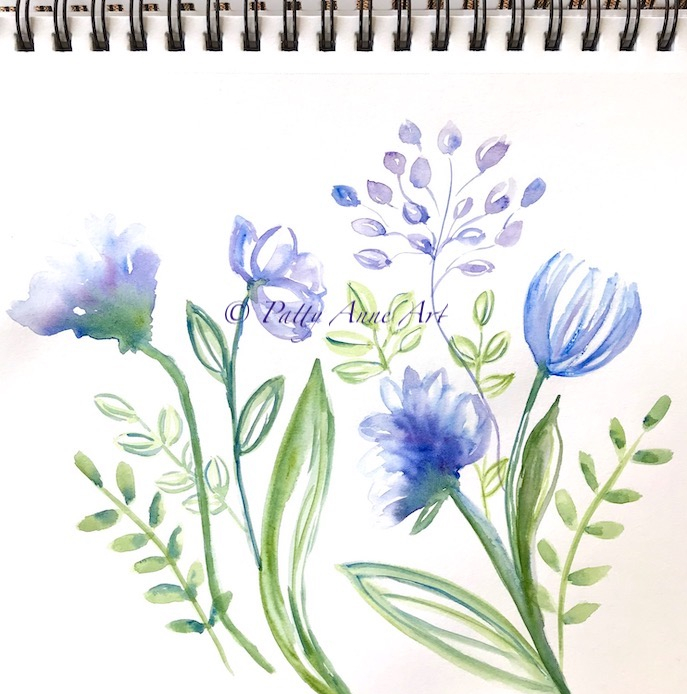 floral watercolor under painting