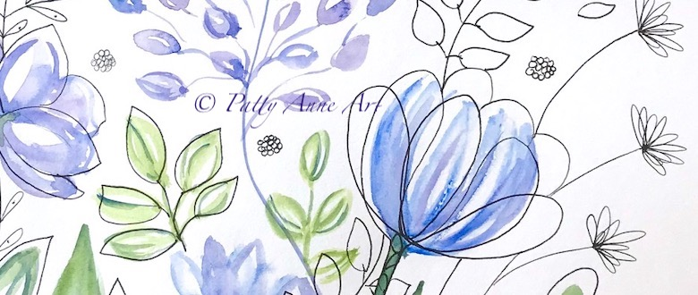 floral watercolor and ink painting