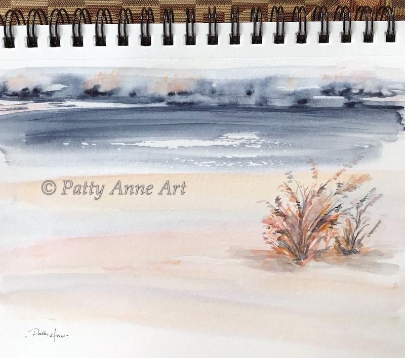 indigo skies watercolor landscape