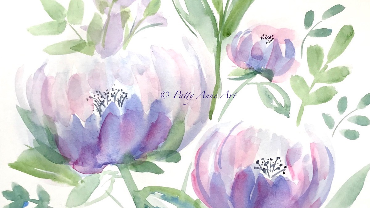 Pretty Peonies Watercolor