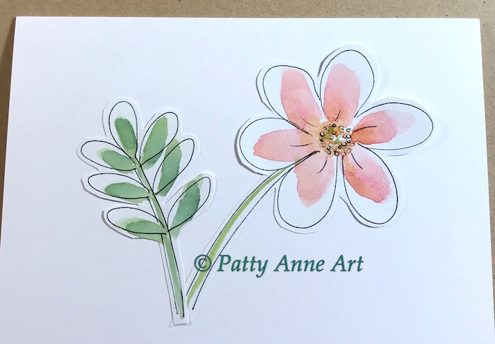 flower card - watercolor cutouts