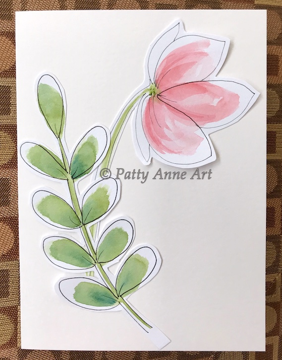 notecard - watercolor flower cutouts