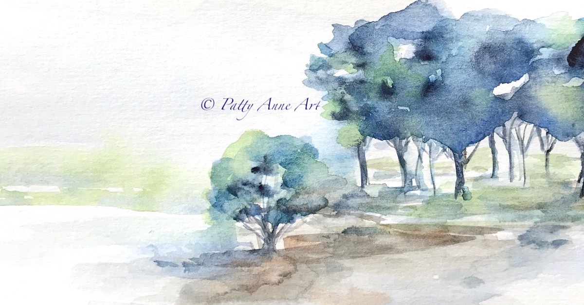 Silent Sunday – Soothing Blues watercolor