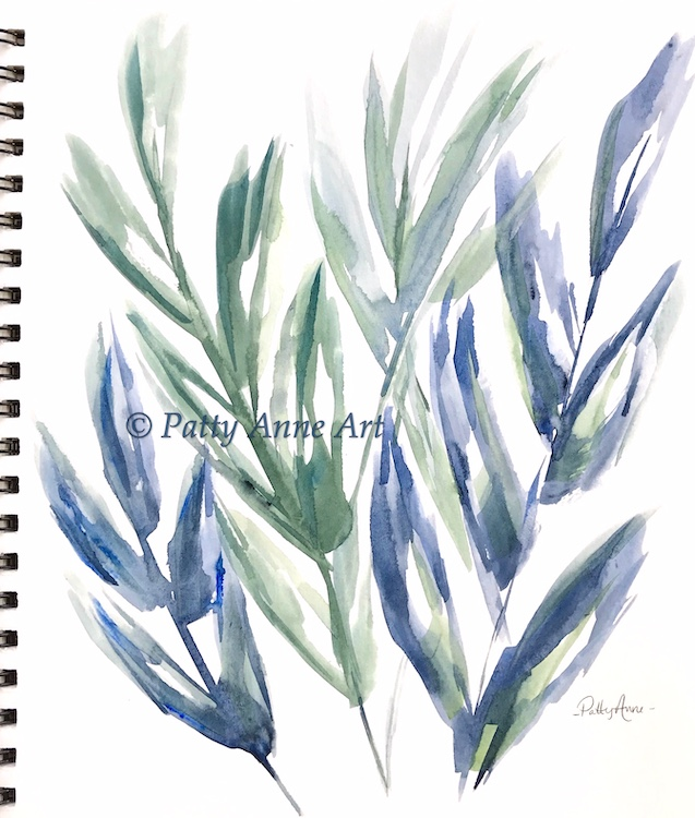 Botanical Blues - large brush watercolor