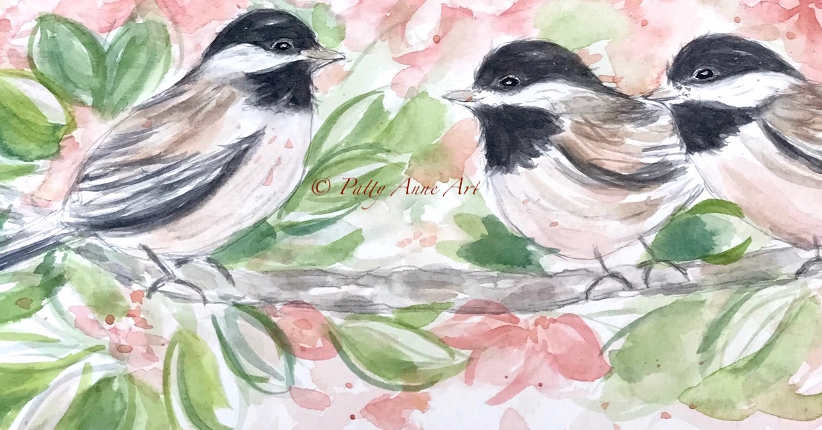 Chickadee family watercolor