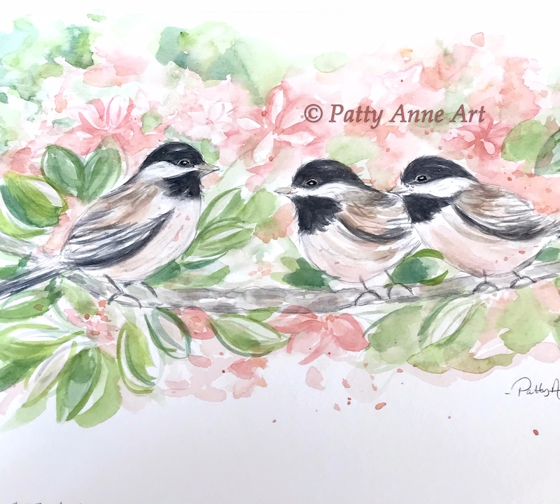 family time - chickadee watercolor