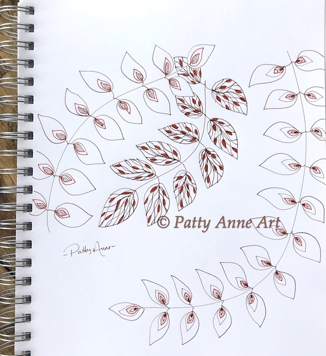 ink sketching leaves with color and pattern