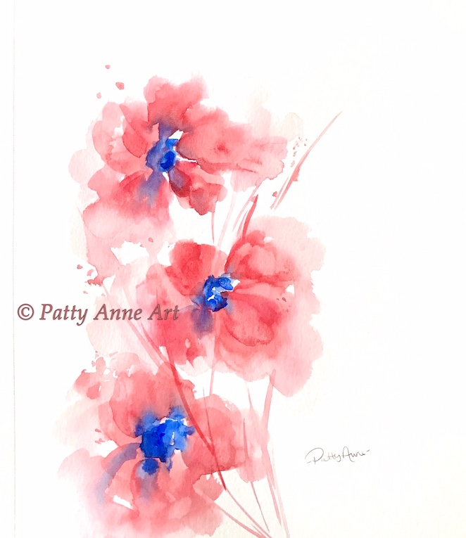 Pretty watercolor poppies